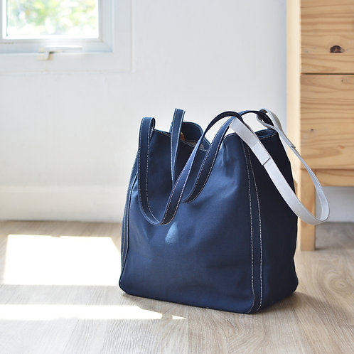 UP STRAP TOTE - NAVY BLUE+GRAY