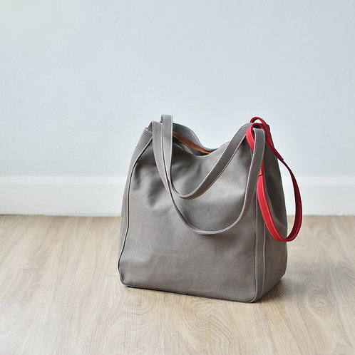 UP STRAP TOTE - GRAY+RED