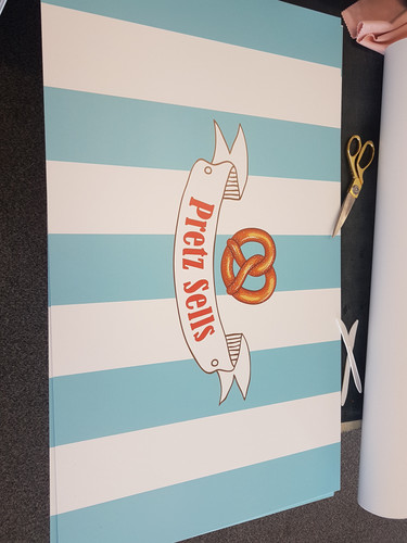 Printed logo for the roof of the stand