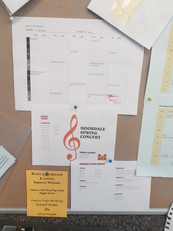 Music Office Display Board - Graphics made by me on Adobe Photoshop, Powerpoint, Word & Excel