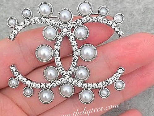 Pearl & Rhinestone Popular Brooch