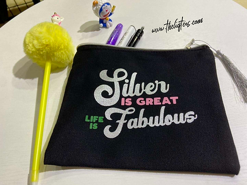 Silver | Life | Fab Pouch with Silver Tassel