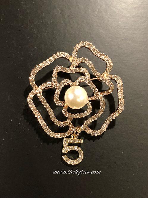 Rose Pearl 5 Brooch