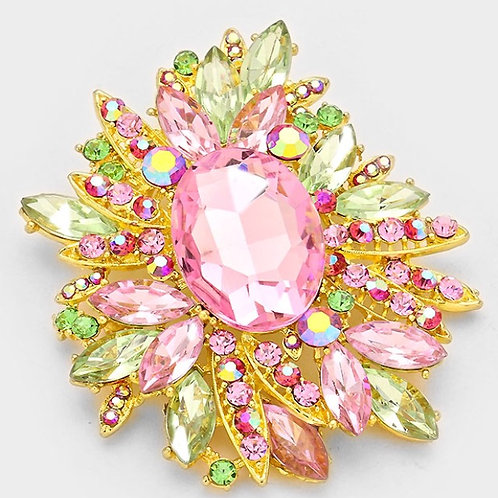 Pink and Green Medium Rhinestone Brooch