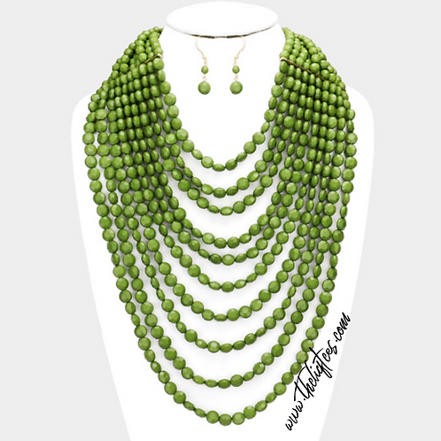 Seen In Green Necklace Set