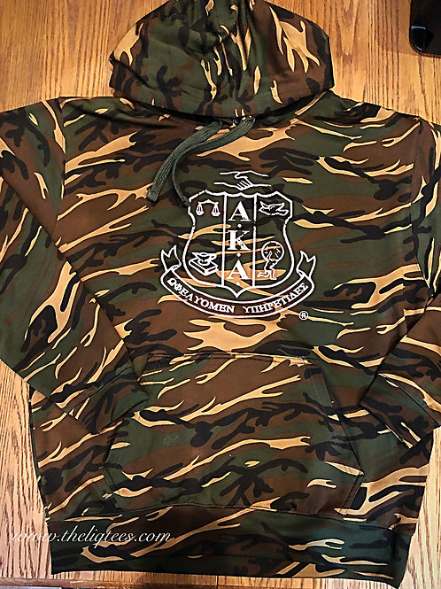 Distressed Silver Shield Camouflage Hoodie