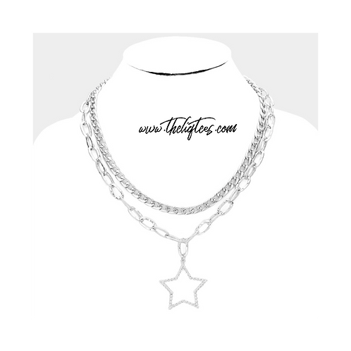 Silver Star Double Necklace
