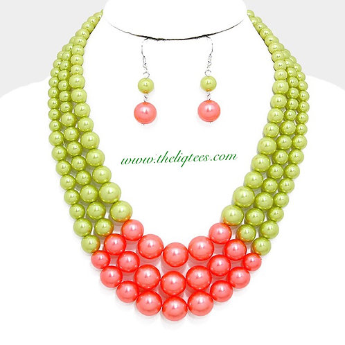 Pink & Green Gumball Pearl Necklace