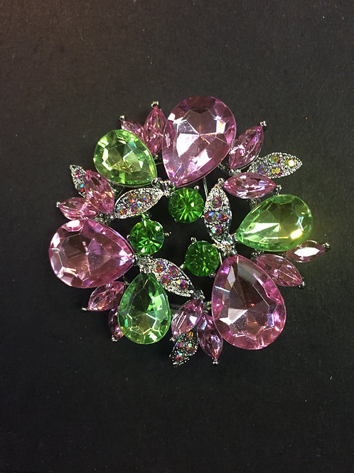 Pink and Green Rhinestone Brooch - Small