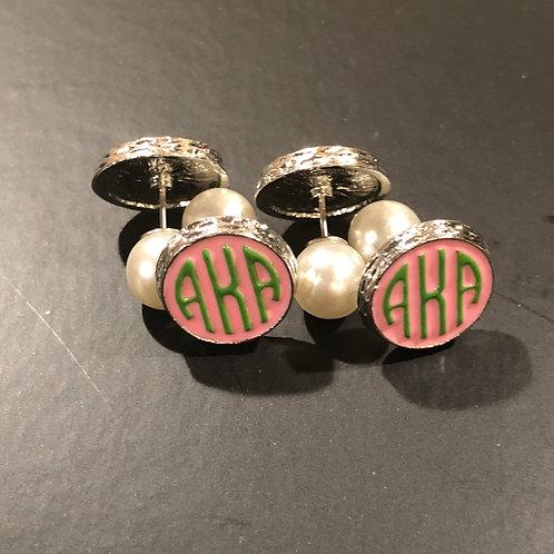 Seeing Double Monogram Pearl Stud Earrings
