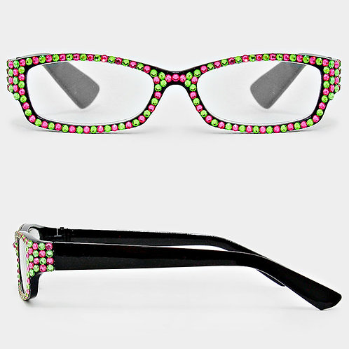 Pink and Green Rhinestone Rectangle Reading Glasse
