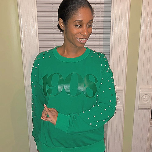 Nyla Remixed Green Pearl Sweatshirt