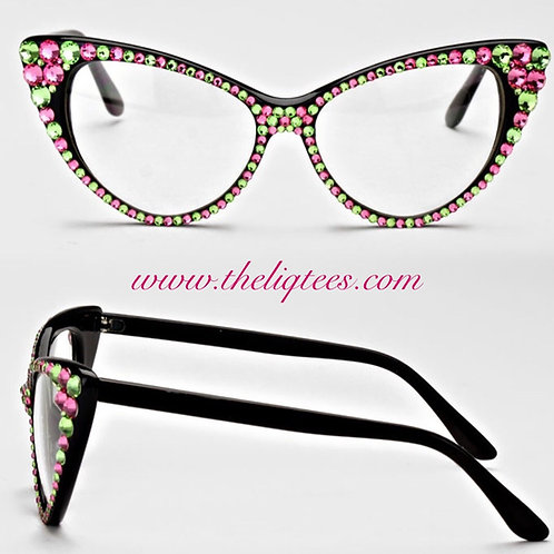 "Pink and Green Rhinestone Cateye ""faux"" Glasses"