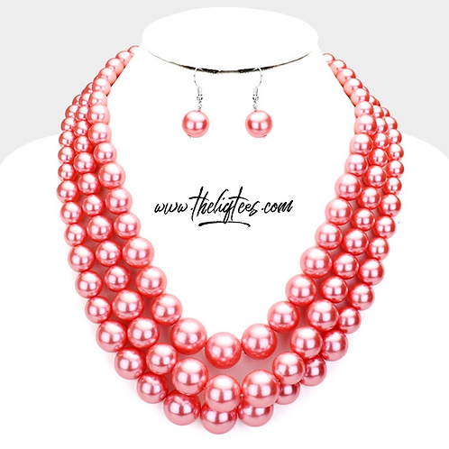 Pink 3-Strand Pearl Set