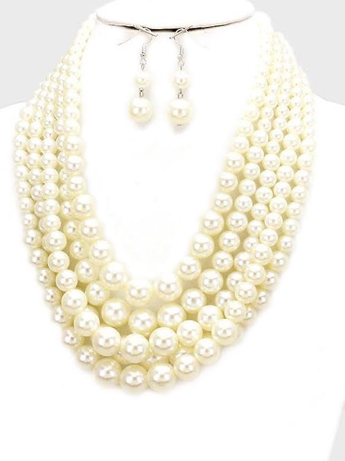 Five Strand Pearl Necklace Set