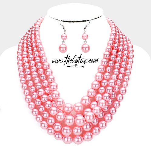 The 5-Strand Pink Pearl Set
