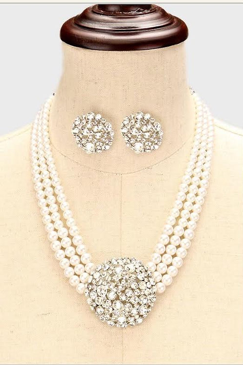 Pave Crystal Ball Pearl Necklace Set