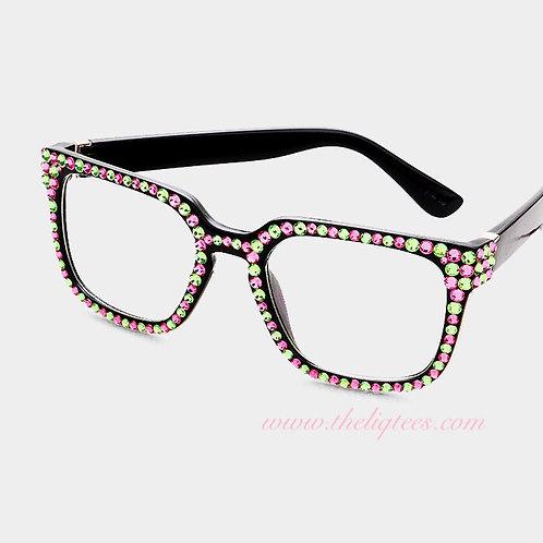 Retro Square P & G Bling Faux Glasses