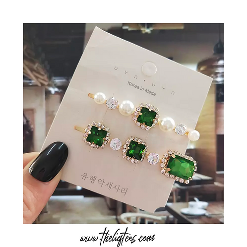 Pearls & Green Stones Hairpins