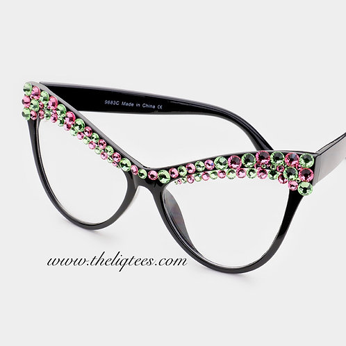 Cateye Bling Faux Glasses