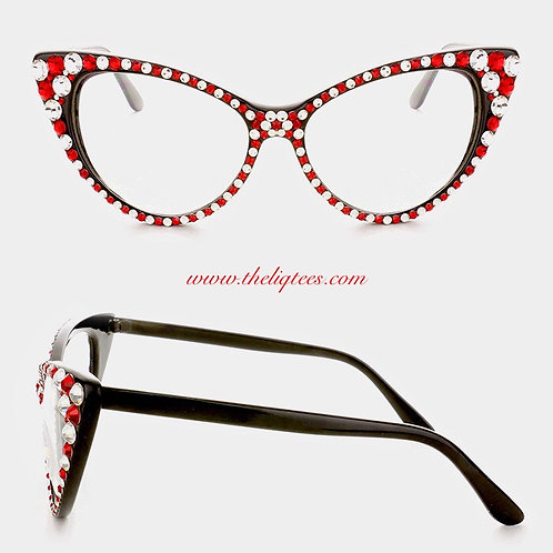 Red & White Rhinestone Faux Glasses