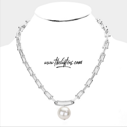 Ball & Chain Pearl Necklace