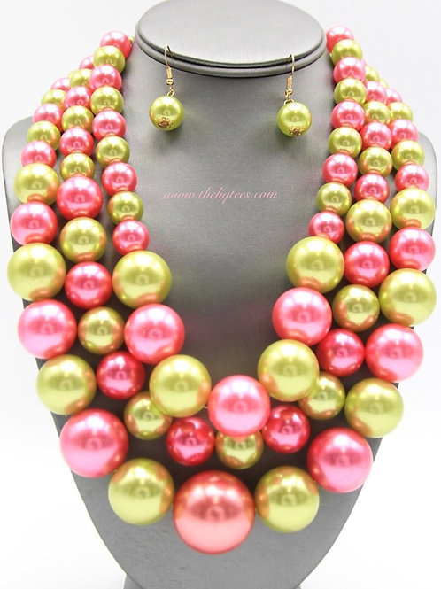 Triple Gumball P & G Necklace Set