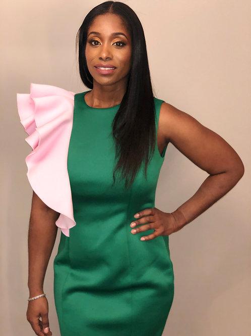 Candace Remixed Ruffle Dress Pink & Green