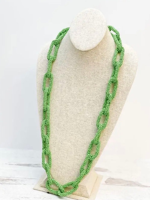 Seed Bead Long Link Necklace