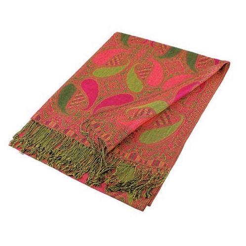 Pink & Green Paisley Pashmina