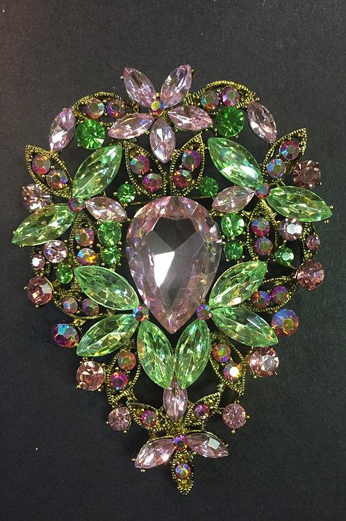 Pink and Green Rhinestone Brooch - Medium Teardrop