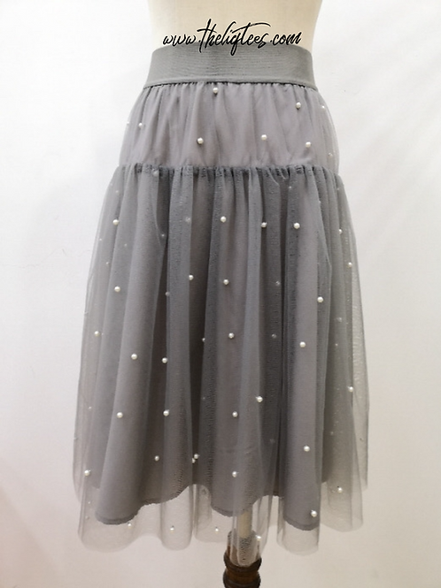Pearls R Always Appropriate Skirt - Silver