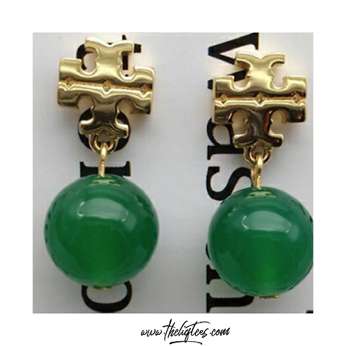 Tory Green Ball Earrings