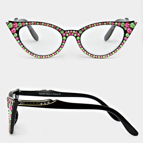 Pink and Green Rhinestone Cateye Reading Glasses