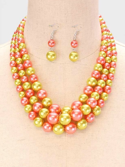 Pink and Green Pearl Necklace