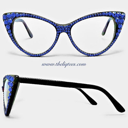 Big Blue Rhinestone Glasses