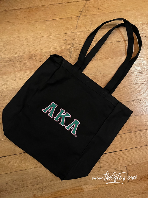Book Tote (Green letters) - EMBROIDERED