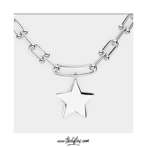 Silver Star Chain Link Necklace