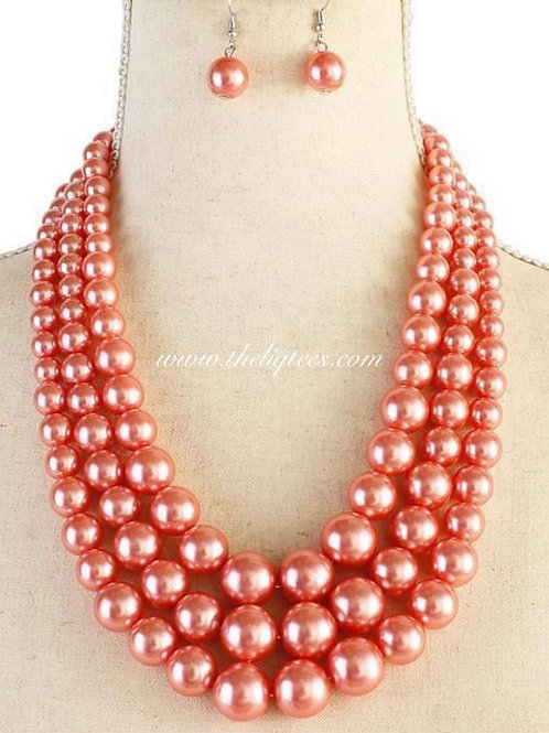Three-Strand Pink Pearl Set