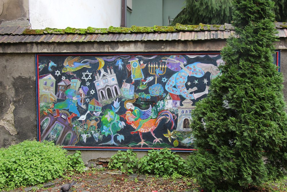 A Chagall-style mural