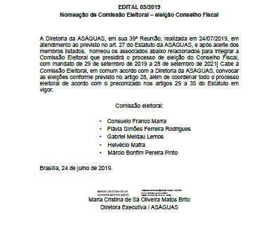 Eleições do Conselho Fiscal da Aságuas