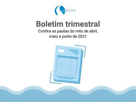 ASÁGUAS divulga Boletim Trimestral Abril/Jun 2021