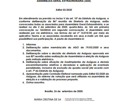 Assembleia Geral Extraordinária dia 02/09, quarta-feira