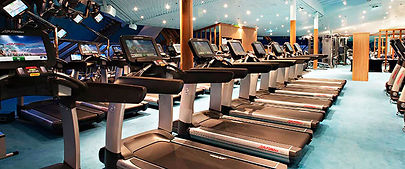 Several treadmills in a row