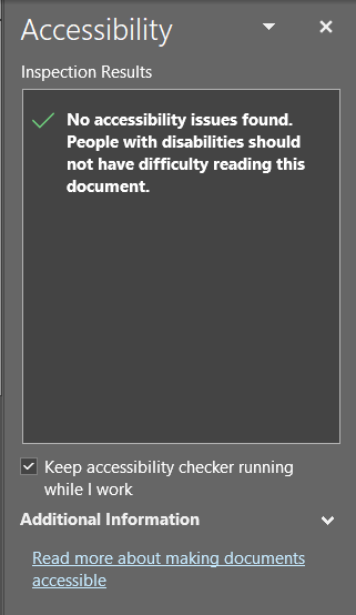 Accessibility checker in MS Word with no accessibility issues found.