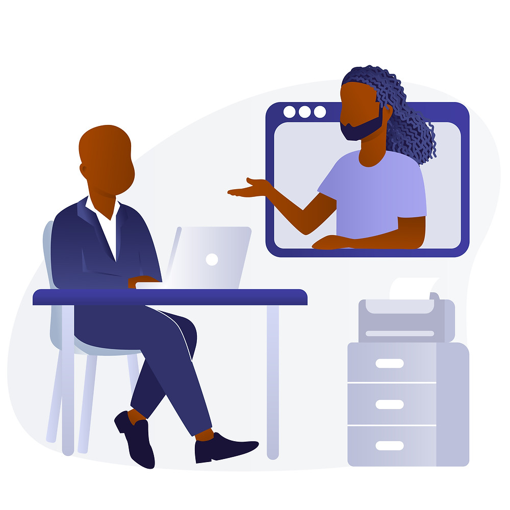 Two Black businessmen talk virtually with one man at his computer and the other man popping out of the screen