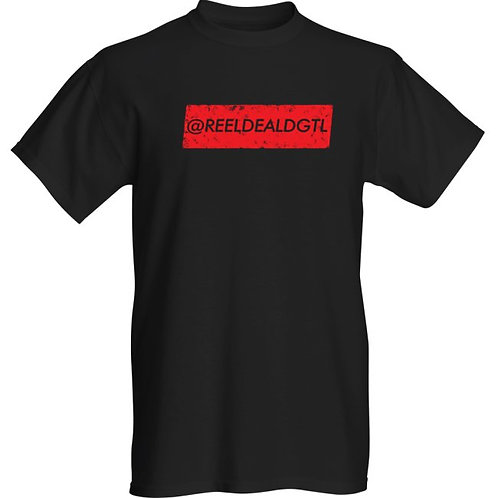 "Reel Deal Digital ""Vintage Collection"" Black T-Shirt With Red Logo"