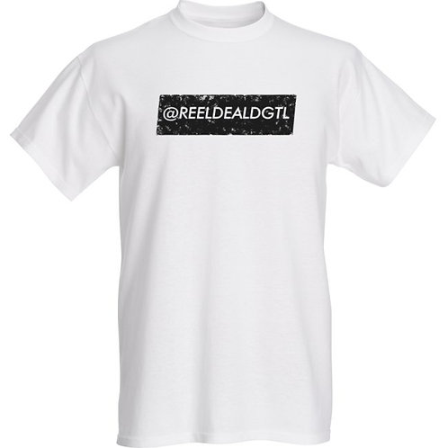 "Reel Deal Digital ""Vintage Collection"" White T-Shirt With Black Logo"