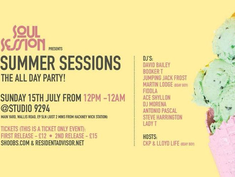 Soul Session The All Day Summer Party 15 July at Studio 9294