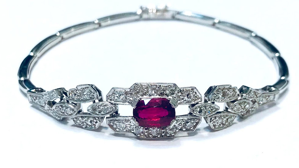 18ct White Gold Art Deco Ruby and Diamond Bracelet